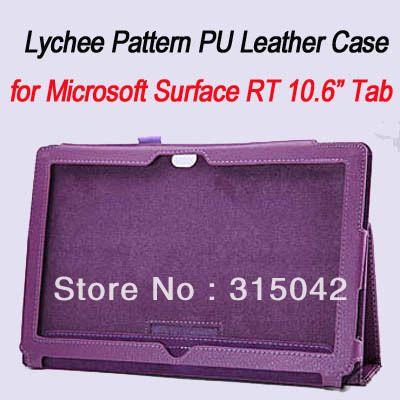 Личи Шаблон PU Кожаный чехол/обложка для Microsoft Surface RT 10.6 tab, surface rt крышка, opp мешок упаковки, бесплатная доставка