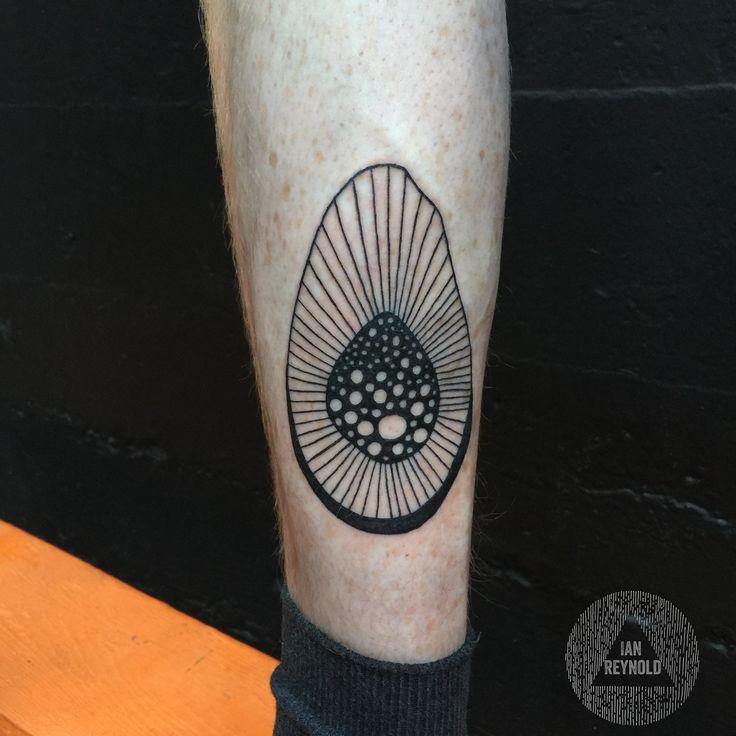 Odd Vocado tattoo - Ian Reynold Linework tattoo, avocado tattoo, blackwork tattoo, psychedelic tattoo, fine liner, blackworker