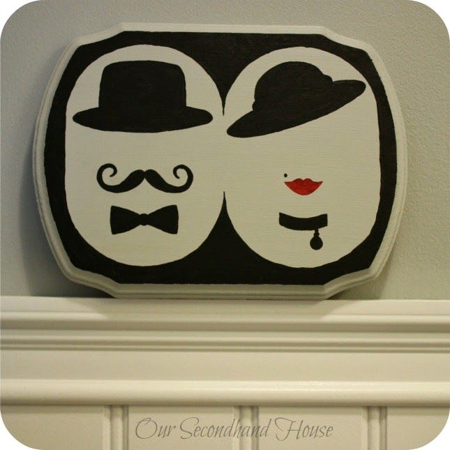DIY His Her Powder Room Sign
