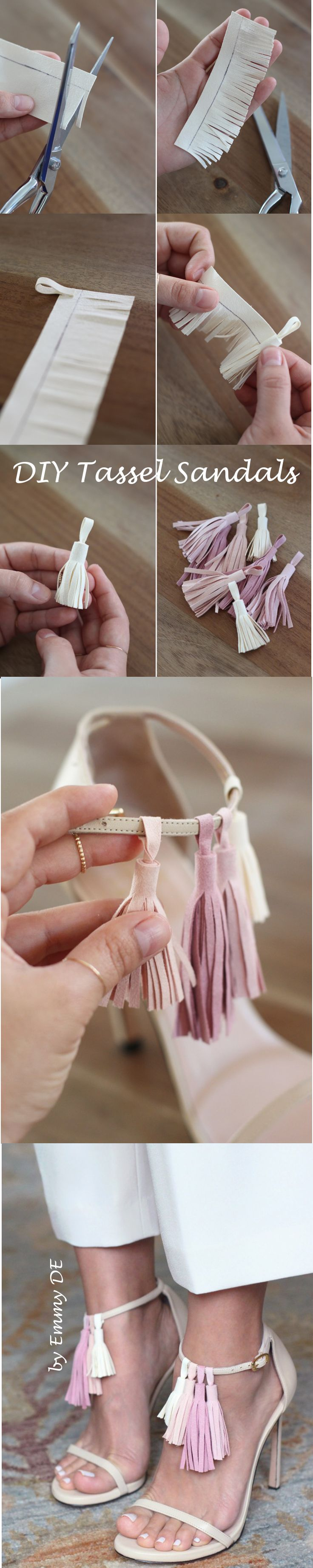 Emmy DE * DIY Tassel Sandals ~ You'll need: strappy sandals (here Stewart Weitzman Nudist ), 8 pieces of 5×5 ultra suede fabric (2 of each color), fabric glue, fabric shears, ruler, pen (images by HonestlyWTF)