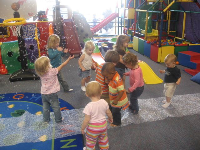 Bubble wrap, floor, tiny stomping feet.  Fun and easy!