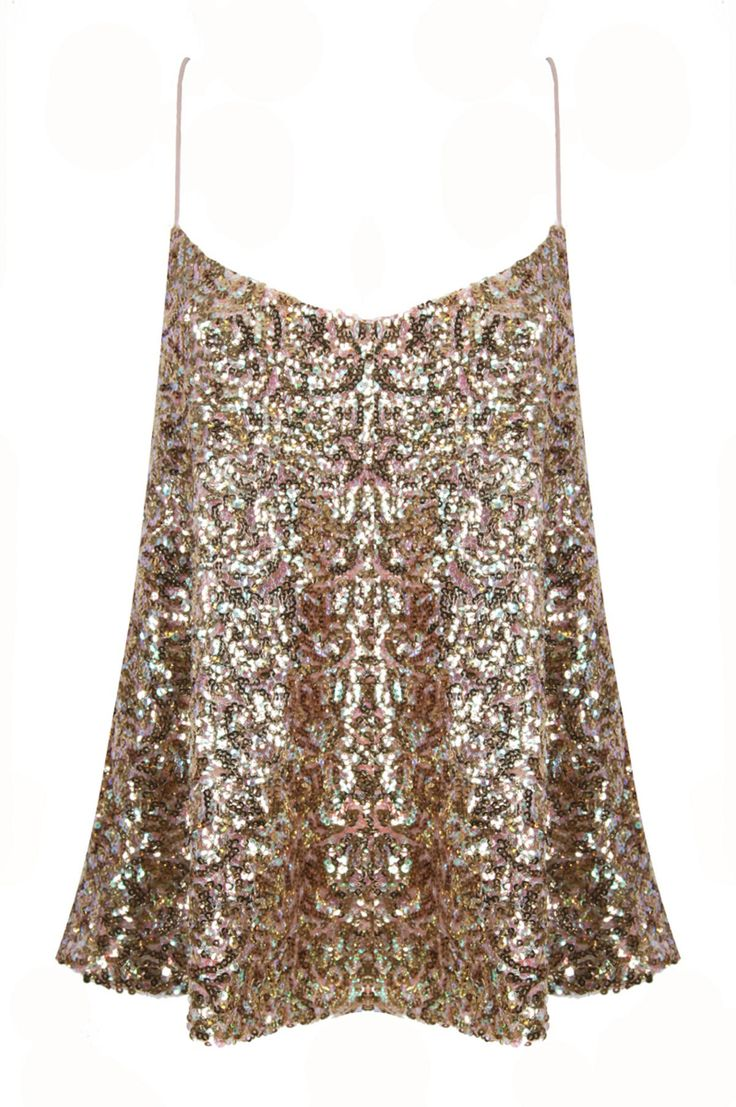 Gold Sequin Cami. This would look super cute with gold accessories, black skinny jeans, and black heels.