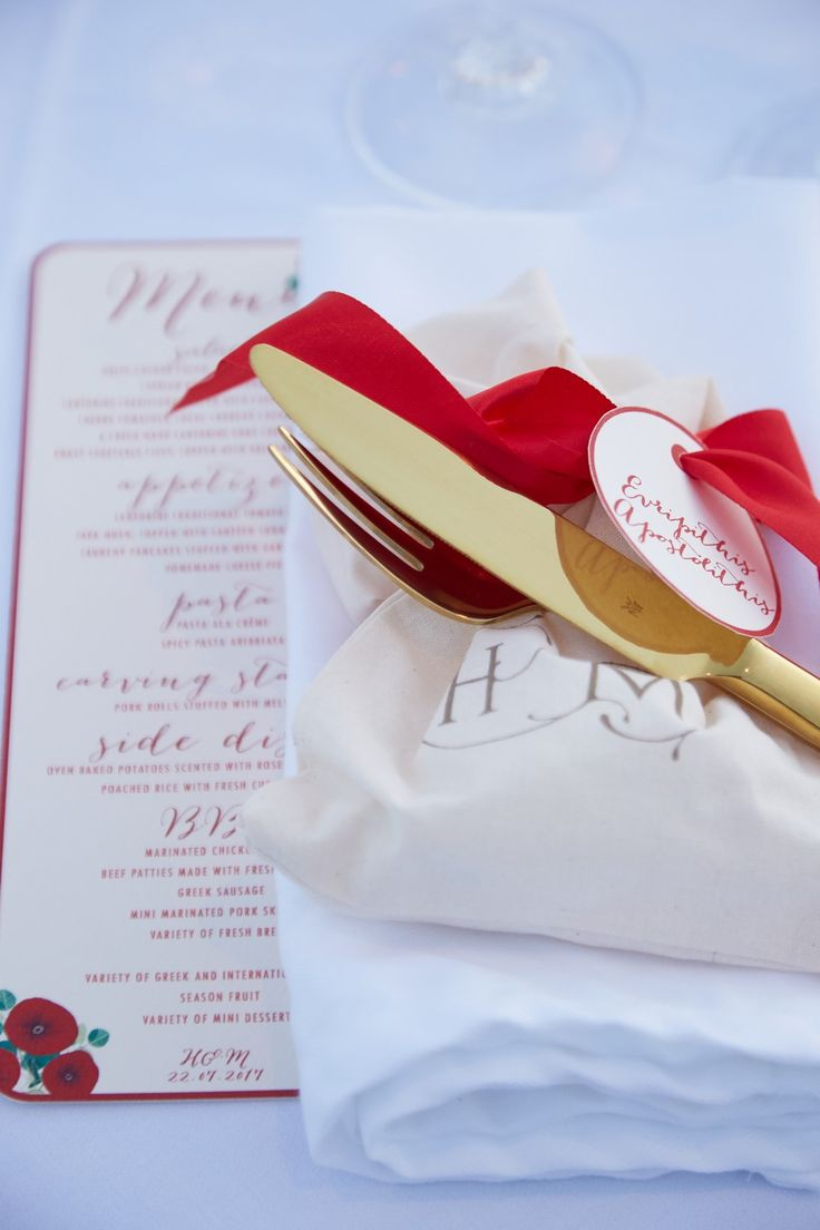 Menu Design, Style, Details, Red Bow, Beauty, Fine Dining, Moments, Santorini Weddings