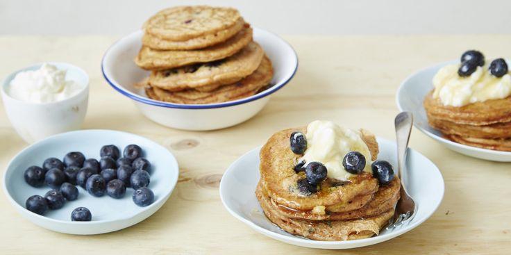 Turmeric + Blueberry Buttermilk Pancakes via @iquitsugar