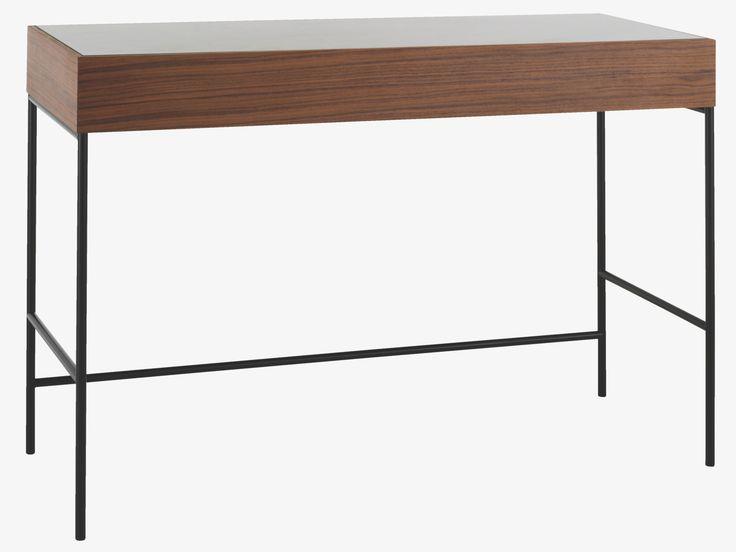MACONIE BROWN Wood Walnut and glass console table - HabitatUK