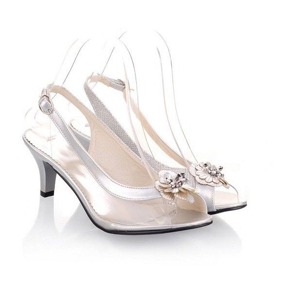 Slingback Transparent Plastic Sandals ($32) ❤ liked on Polyvore featuring shoes, sandals, plastic sandals, sling back sandals, transparent shoes, see-through shoes and sling back shoes