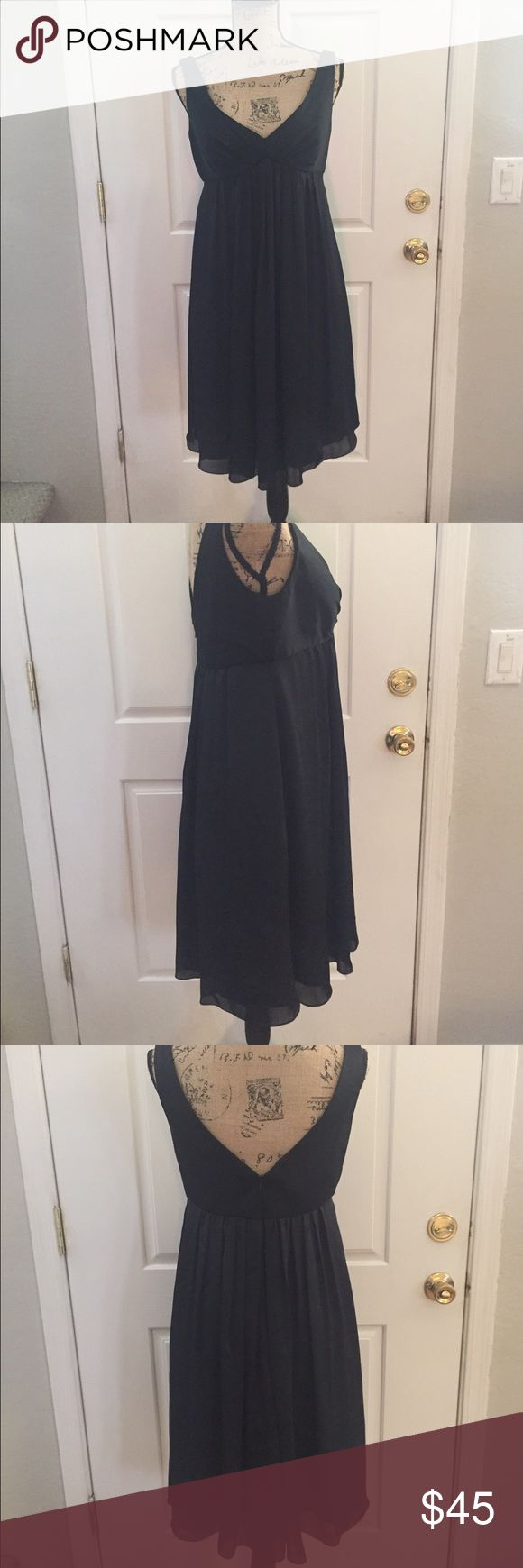 Priscilla of Boston Black size 12 Like New! Priscilla of Boston formal sleeveless  A-line gown. Very beautiful sheer over lay, gathering v-neckline. Measurements flat, LT: 37 1/2in Bust: 17in, 1in strap. Comes from a pet and smoke free home. I'll be happy to answer any questions you may have! 😊 Priscilla of Boston Dresses Midi