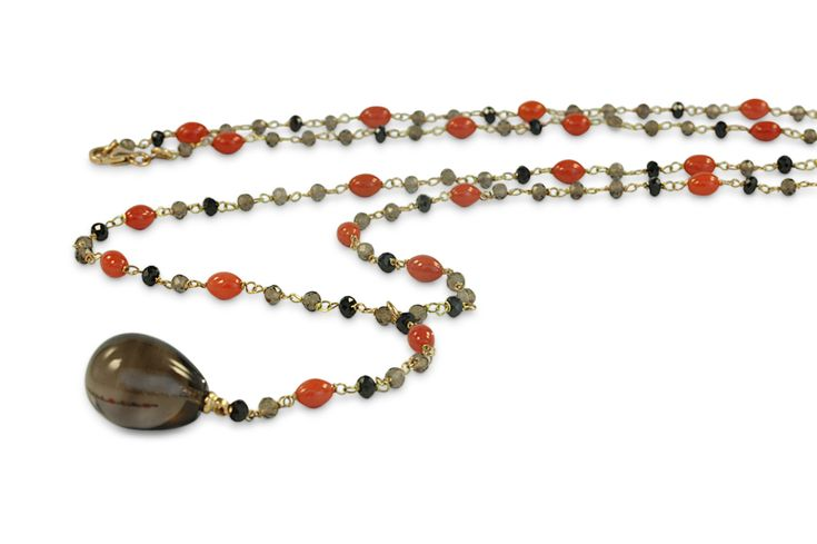 18 ct rose gold smoky quartz, coral and black onyx necklace