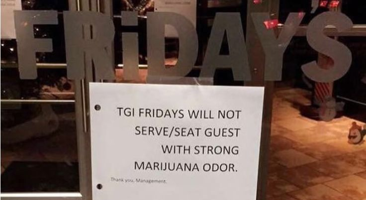 "T.G.I. Fridays Location Posts Unsanctioned ""No Marijuana Odor"" Sign"