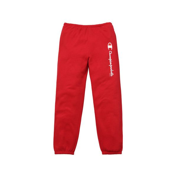Supreme Supreme /Champion Sweatpant ($128) ❤ liked on Polyvore featuring activewear, activewear pants, champion sweatpants, champion sportswear, champion activewear, red sweat pants and sweat pants