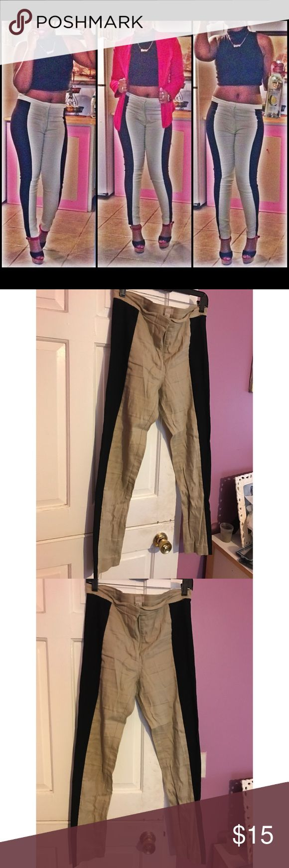 H&M Sexy Pants! ✨✨ This is kinda like a khaki/legging material. Form fitting and sexy, you can dress it up in any kind of way! Only worn twice. Just been taking up space. Size 10. H&M Pants Skinny
