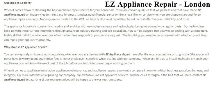 EZ Appliance Repair 4474 Blakie Rd #139 London, ON N6L 1G7 (226) 289-2265  https://ezappliancerepair.ca/london.html