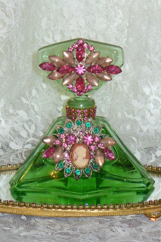 Antique Bejeweled Perfume Bottle 24 By Debbie Del Rosario-Antique, Perfume, Weiss, Rhinestones, Glass, Crystal, Victorian,