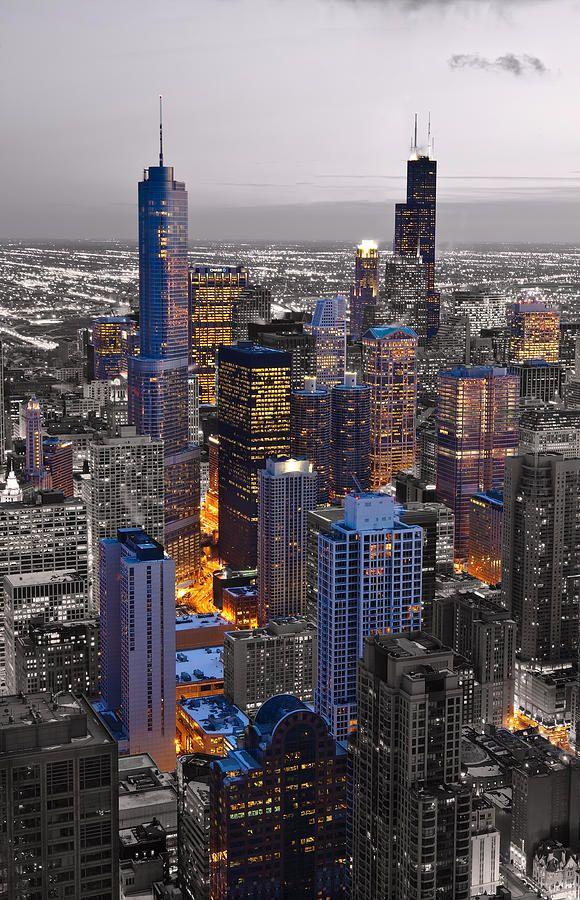 ✮ Chicago Loop Sundown - BW Color Blend