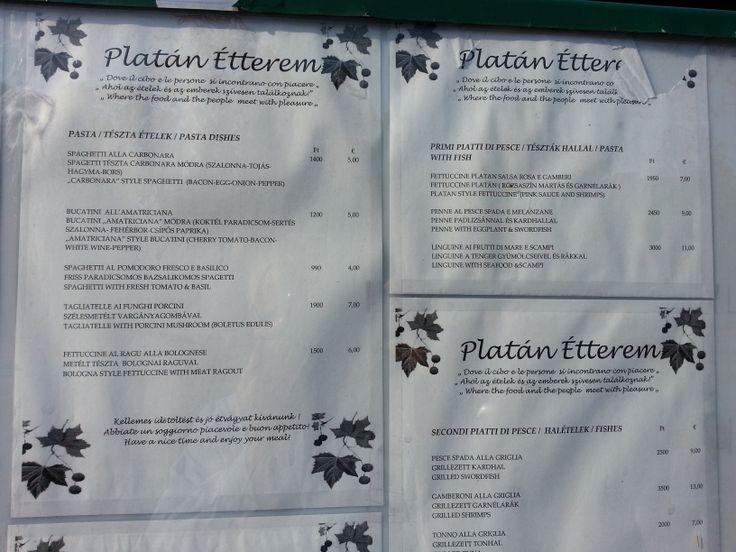 Budapest, Hungary - Platan restaurant prices