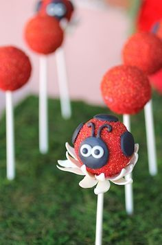 Adorable ladybug cake pops