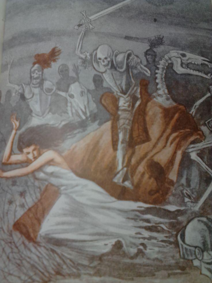 un cazador extraviado pasó la noche de difuntos sin poder salir del Monte de las animas,y antes de morir, pudo contar lo que viera,cosas horribles. asegura q vio a los esqueletos de los antiguos templarios y  nobles de Soria enterrados levantarse durante la oración con un estrépito horrible,caballeros sobre osamentas de corceles, perseguir como a una fiera a una mujer hermosa, pálida y desmelenada, con los pies desnudos y sangrientos, arrojando gritos de horror, alrededor de la tumba de…