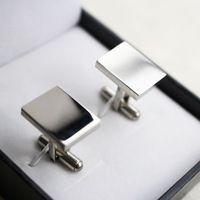 La mancuerna de la joyería 316L acero inoxidable moda hombres de las mancuernas de la forma del rectángulo de negocios gemelos en blanco conjuntos gemelos para hombre