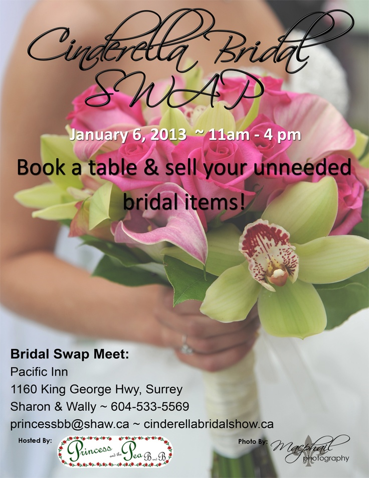 Cinderella Bridal SWAP January 6th, 2013 from 11am to 4pm https://www.facebook.com/cinderellabridalshow