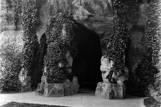 The caves at Lenton Hermitage as they looked in 1910.