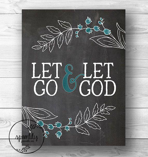 Bible verse art print let go let god wall decor for Bible verse decor