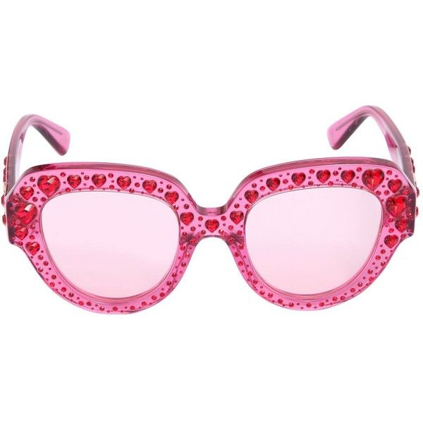 bf11fa217 Gucci Women Squared Sunglasses W/ Heart Crystals ($1,135) ❤ liked on  Polyvore featuring accessories, eyewear, sunglasses, pink, heart shaped  glasses, ...