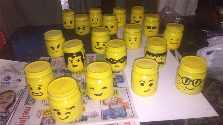 Lego head  spray painted fever baby food for lego heads birthday party yellow