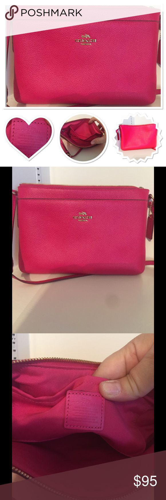 Coach Crossbody purse ❤️SALE-today only!❤️ Super cute Coach purse in bright pink pebbled leather. Coach Bags Crossbody Bags