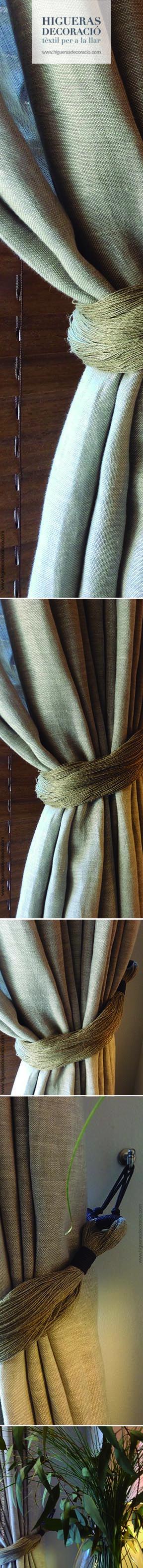 #Abrazaderas de pasamanería en lino puro.  #Abrazaderas para personalizar tus cortinas. #Abrazadera para cortinas largas. #Abraçadores de passamaneria en lli pur. #Abraçadores per personalitzar les teves cortines. #Abraçadora per a cortines llargues. www.higuerasdecoracio.com