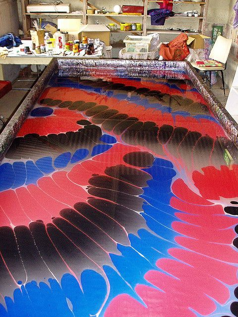Marbling pigments on the size.