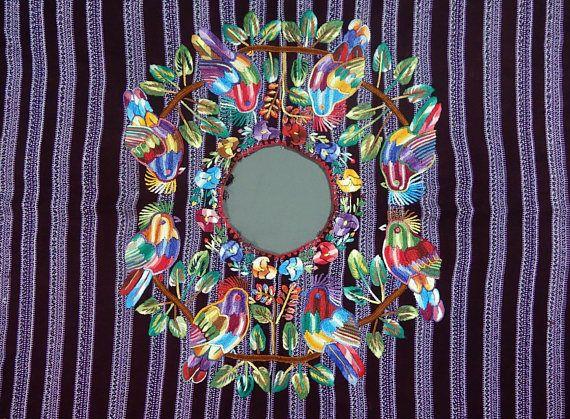 Colorful & Beautiful Vintage Ethnic Mayan Guatemalan Textile Bird Huipil Poncho from Patzun