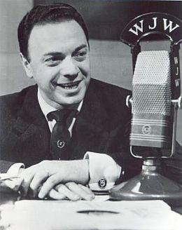 """""""Moondog"""" Alan Freed in 1951 at Cleveland radio station WJW where he called the…"""