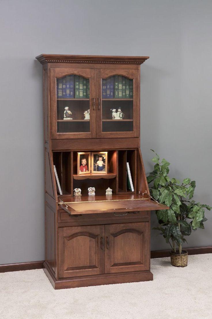 Amish Executive Deluxe Secretary Desk With Hutch Top Secretary Desks And Desks