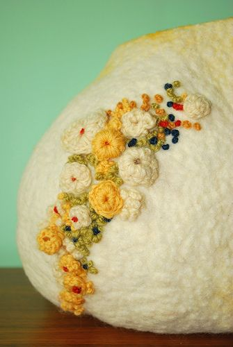 Marchi wierson, felted vessel with embroidery and crochet