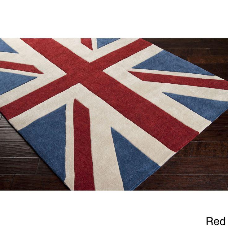 Hand-tufted Union Jack Novelty Contemporary Area Rug (5' x 8')