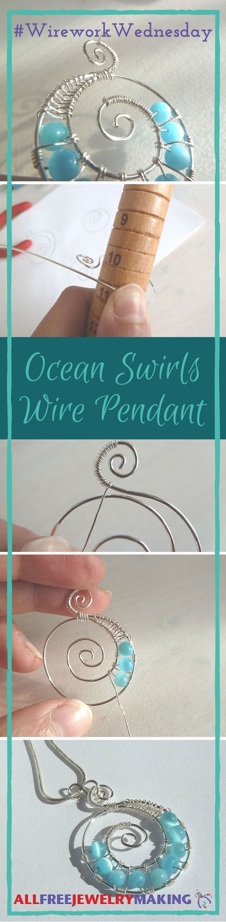 Expand your wire jewelry making skills and create a stunning DIY pendant with the Ocean Swirls Wire Pendant. Inspired by the majestic aqua hues and spiraling wa