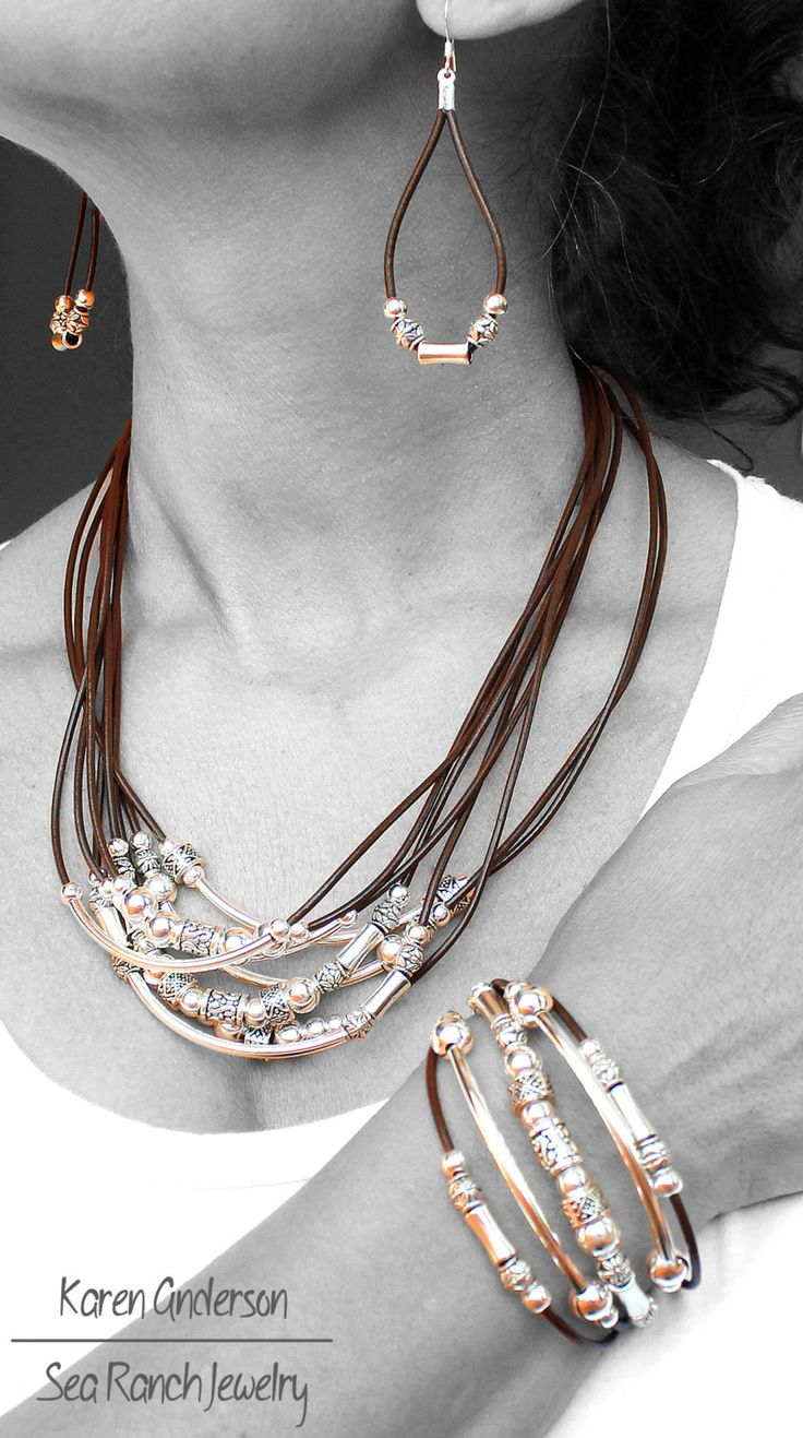 Set di gioielli in pelle 4 pezzi di perline di SeaRanchJewelry