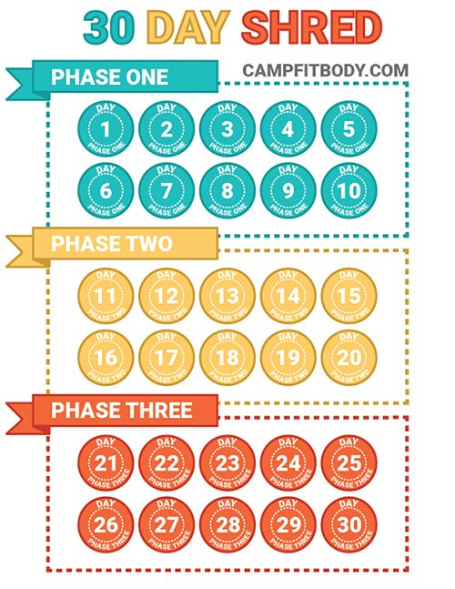 Downloadable 30 Day Shred Freebie Chart! Feel free to print this out and use it for your workouts. Check out the blog to download a free high resolution file.