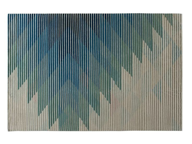 Handmade rug with optical pattern LAKE BLUE Lake Collection by Golran | design Raw Edges