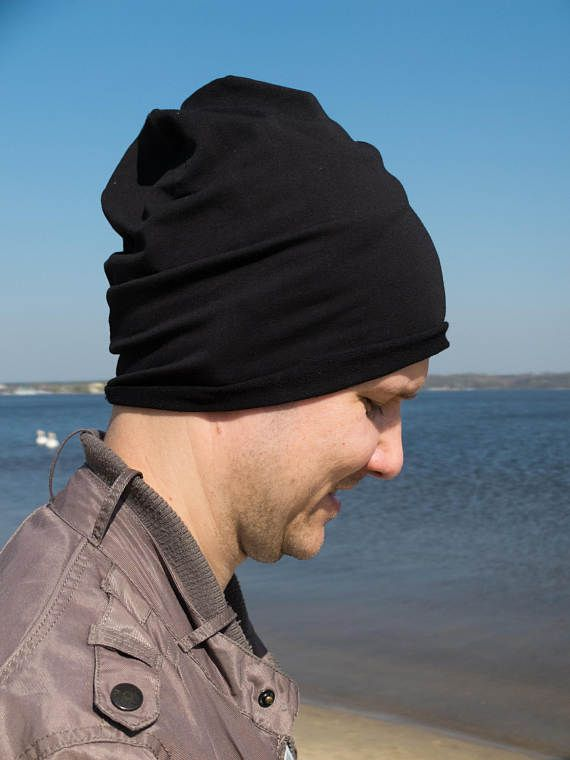 Black beanie hat Slouchy beanie men lightweight beanie for