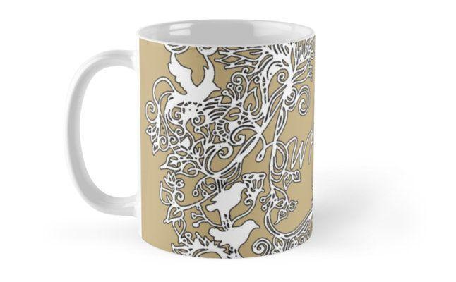 Whimsical lace-style lunatic art mug