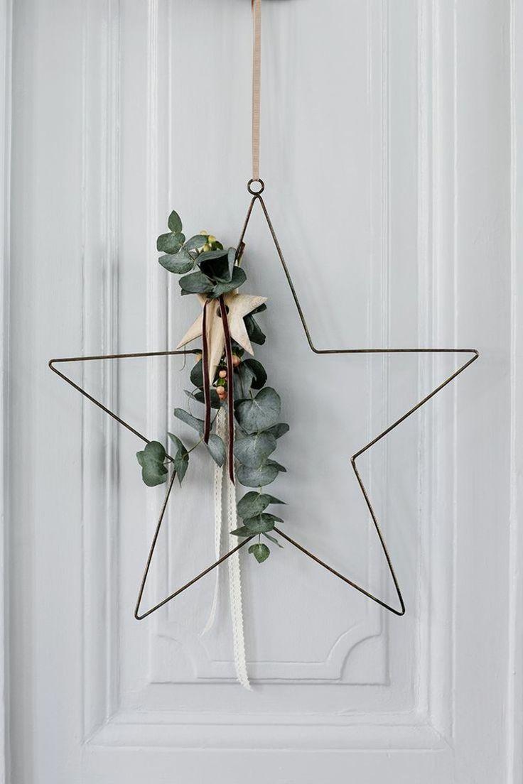Türkranz zu Weihnachten selber basteln, Stern-Form