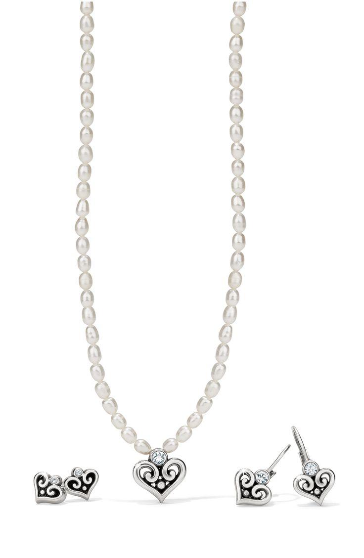 Brighton Alcazar Heart Pearl Necklace $48 Alcazar Heart Leverback Earrings  $22 At Seaweeds By The