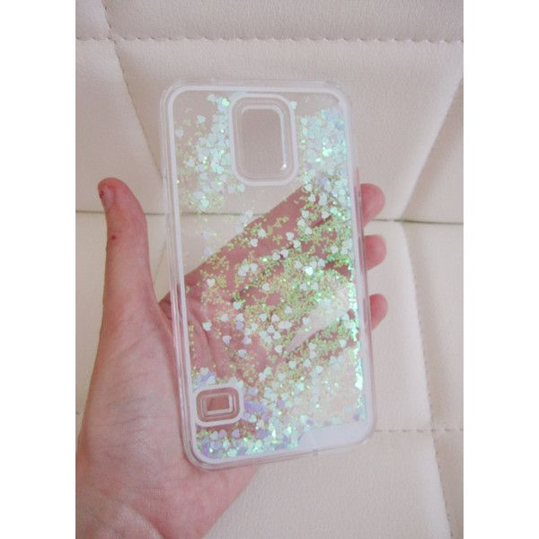 Samsung Galaxy S5 case clear liquid glitter hipster heart iridescent... ($9.95) ❤ liked on Polyvore featuring accessories, tech accessories and samsung