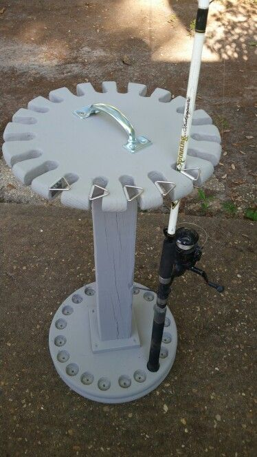 Swiveling fishing rod holder that i made for my brother in for Fish on rod holders