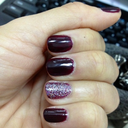 oxblood and glitter accent nail tutorial #manicure #diy