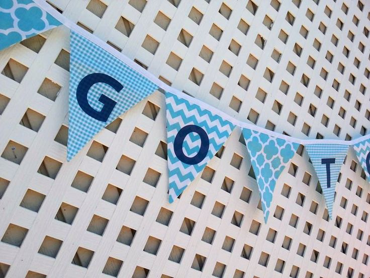 Team Banner Aqua Chevron Fabric Banner Sports Banner Blue and White Birthday Banner Aqua Quatrefoil Bunting Flag Banner Photo Prop Banner by GmaCustom4You on Etsy