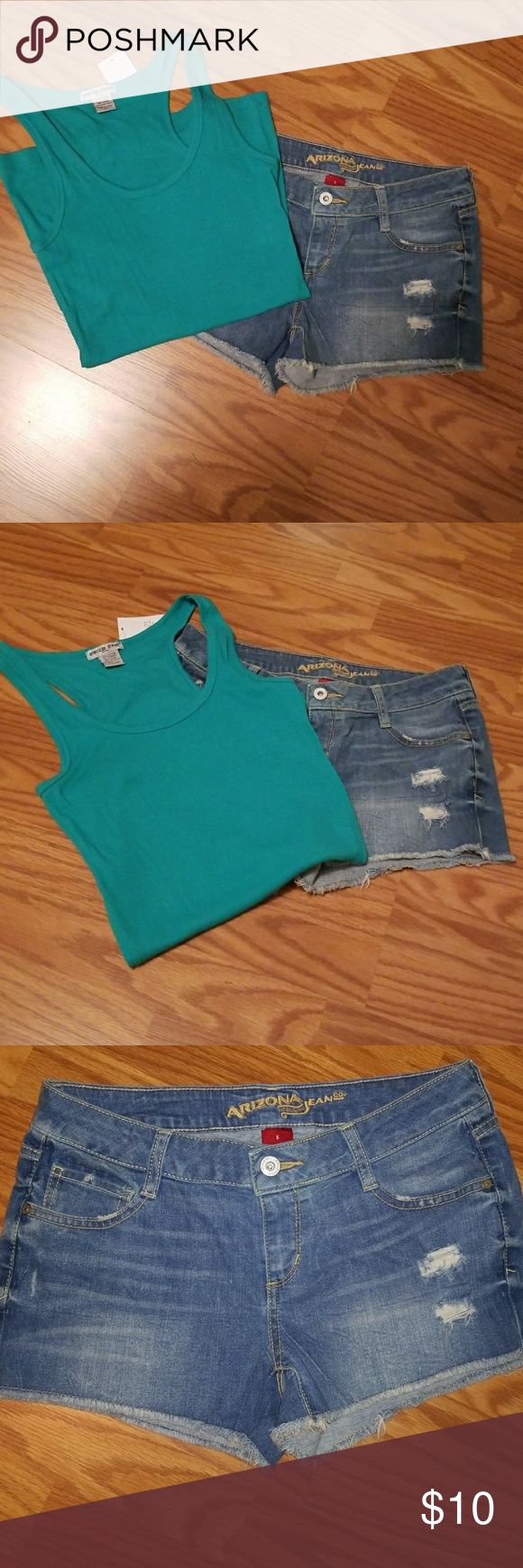 Arizona Jean Shorts && Ribbed Racerback Tank Shorty Jean shorts with mild distressing on the front left. Fraying at the bottom. Front button and zipper closure. Two pockets on back side. Never been worn. Rue 21 ribbed racerback tank top in a beautiful green is included with this purchase. The tank top is NWT🎉 Tag reads Large, but runs small, like most Rue's merch. Great outfit!! Arizona Jean Company Shorts Jean Shorts