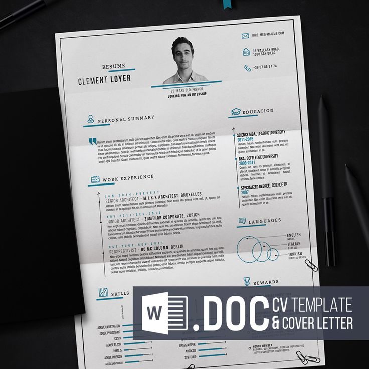 If you need another resume in a Word template, please email me at. mail@clementloyer.com. What is it ? This is a template for making your own resume. You will find an editable Microsoft Word File with all the editable elements. There's also a single page letter template, to adapt the graphic of the resume. You just need to change the text and save as PDF. I've also included all the fonts I've used. What's inside ? - an editable Microsoft Word file (.docx). - all the fonts used in ...