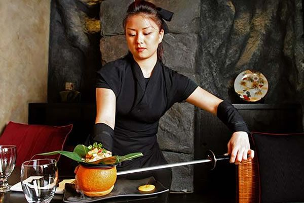 The Ninja Restaurant (Manhattan, New York) Theme: Ninjas! Food is served by wait staff in ninja garb, who periodically jump out of nooks and crannies to scare you. Apparently ninjas love pranks. Restaurant Menus: Traditional Japanese food and sushi.